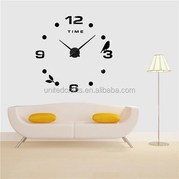 Fashion watches 3d diy real big wall clock rushed mirror sticker