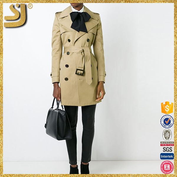 OEM factory price double breasted american style women trench coat with belt