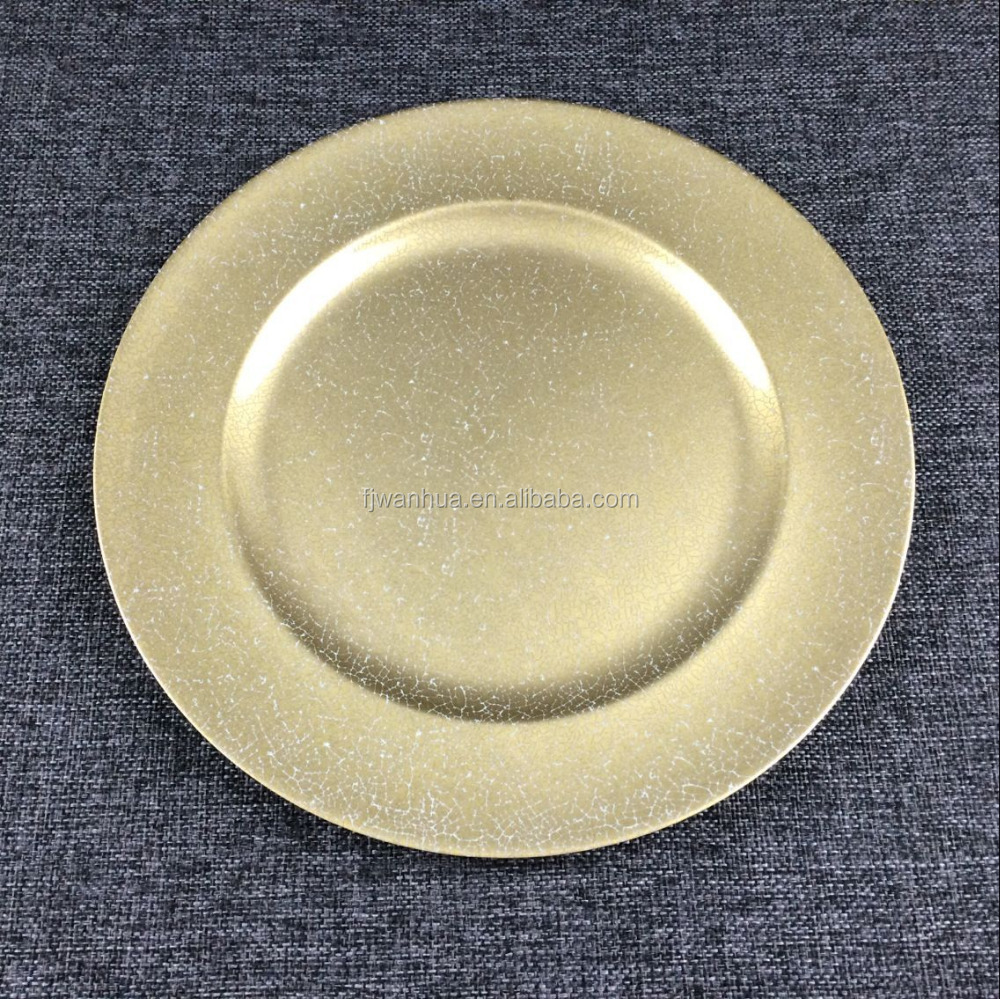 2017 new design printed dinner plate gold