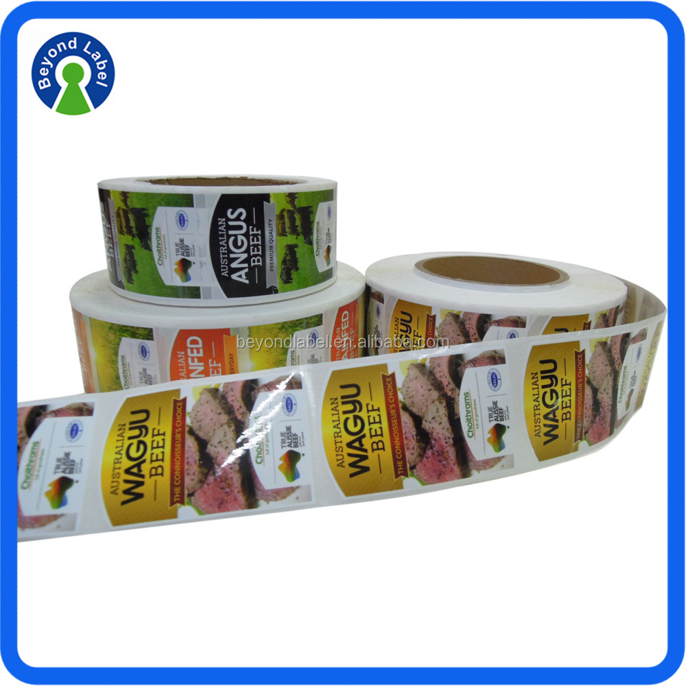 Color Printing Custom Waterproof Stick On Food Label Roll Canned Food Sticker