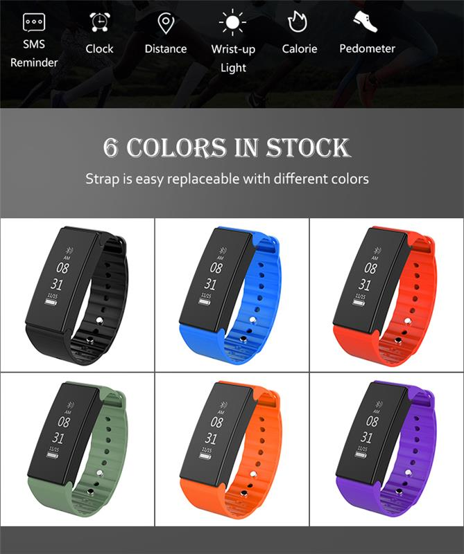 Touch screen smart bracelet activity tracker waterproof IP67 customized APP Bluetooth smart watch