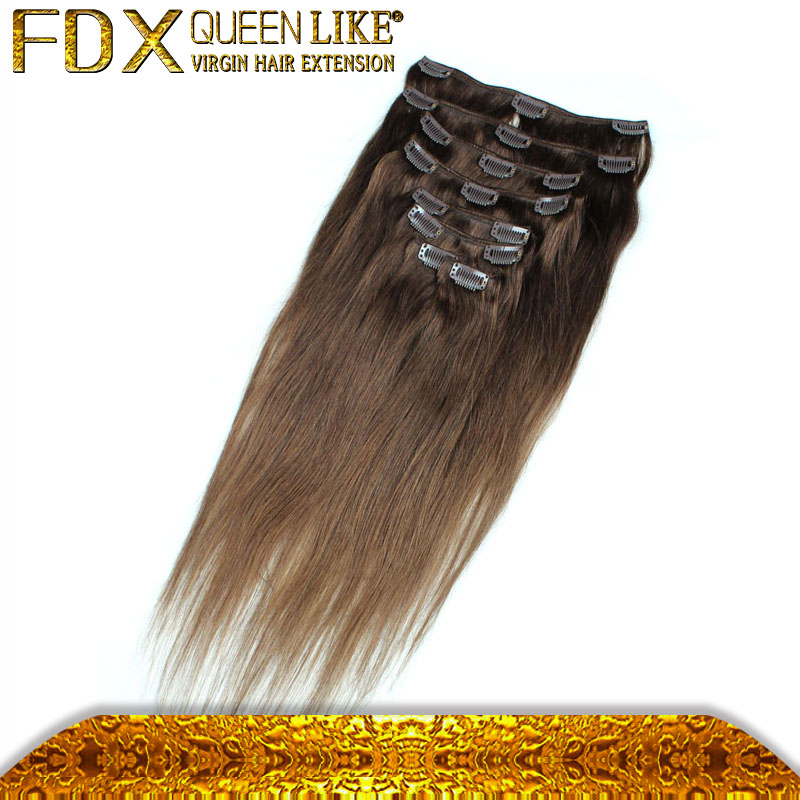 New arrival great length straight #4 color one piece clip in hair extension for black women