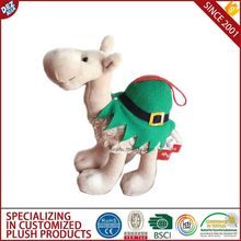 Christmas Gifts Camel with Christmas Hat Plush Pet Toy with OEM Design