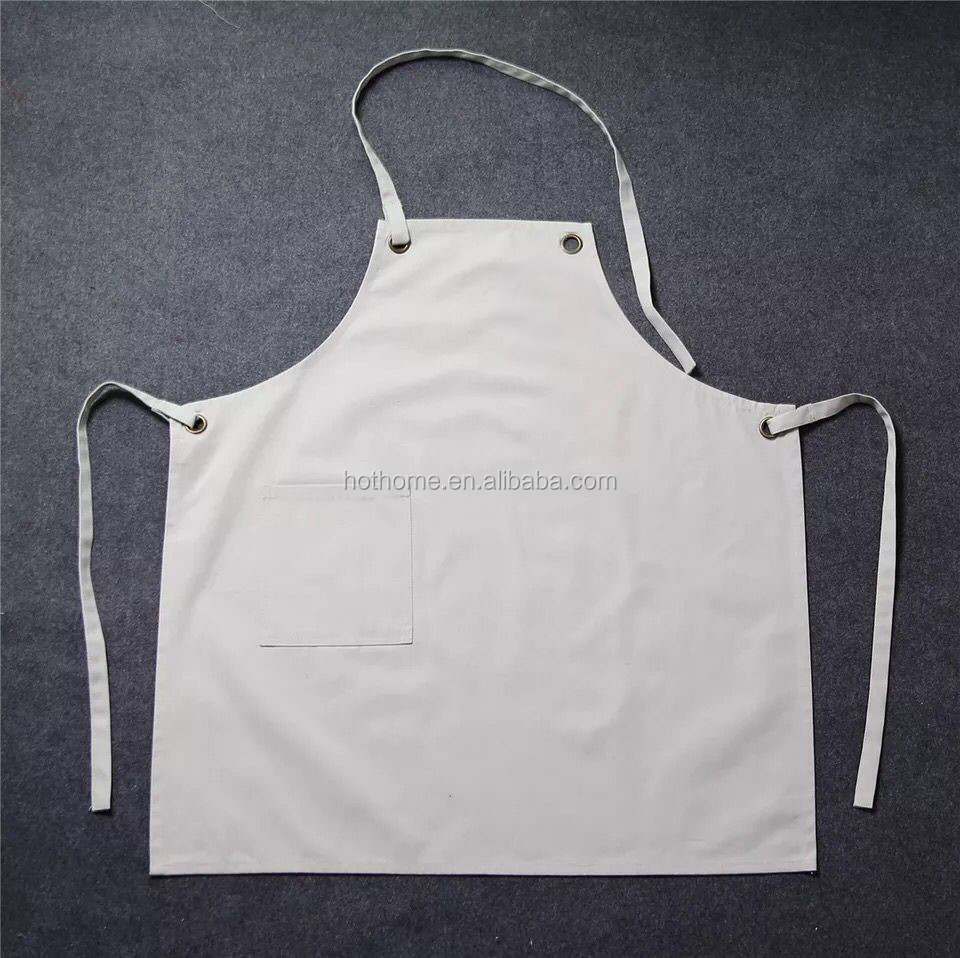 2017 100% Cotton Canvas Solid Color White and Black Cooking Kitchen Apron with Pocket Workshop Apron