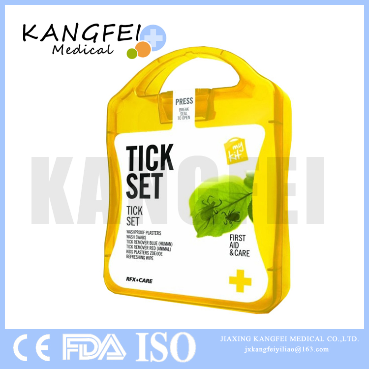 2017 New Item KF403 tick set In colorful storage case box pet first aid kit tick remover