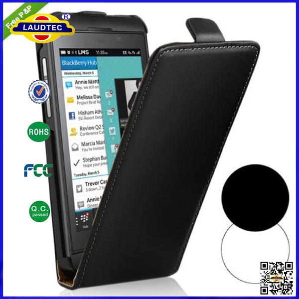 Genuine Real Leather Flip Case for BlackBerry Z10,Hot Selling Cellphone Case Back Cover for BlackBerry Z10 Laudtec