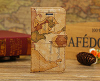 Fashion World Map Print PU Leather Case Cover Lot Wallet for iPhone 5C