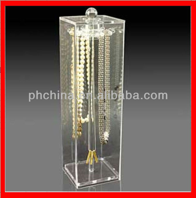 JWD--045 Stylish Design Acrylic Necklace Tower,Clear Perspex Necklace Display Tree Box Lucite Becklace Tree,Necklace Tower