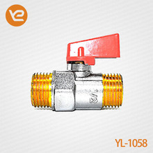 1/2 Inch aluminum short handle with male thread of Brass Ball Valve
