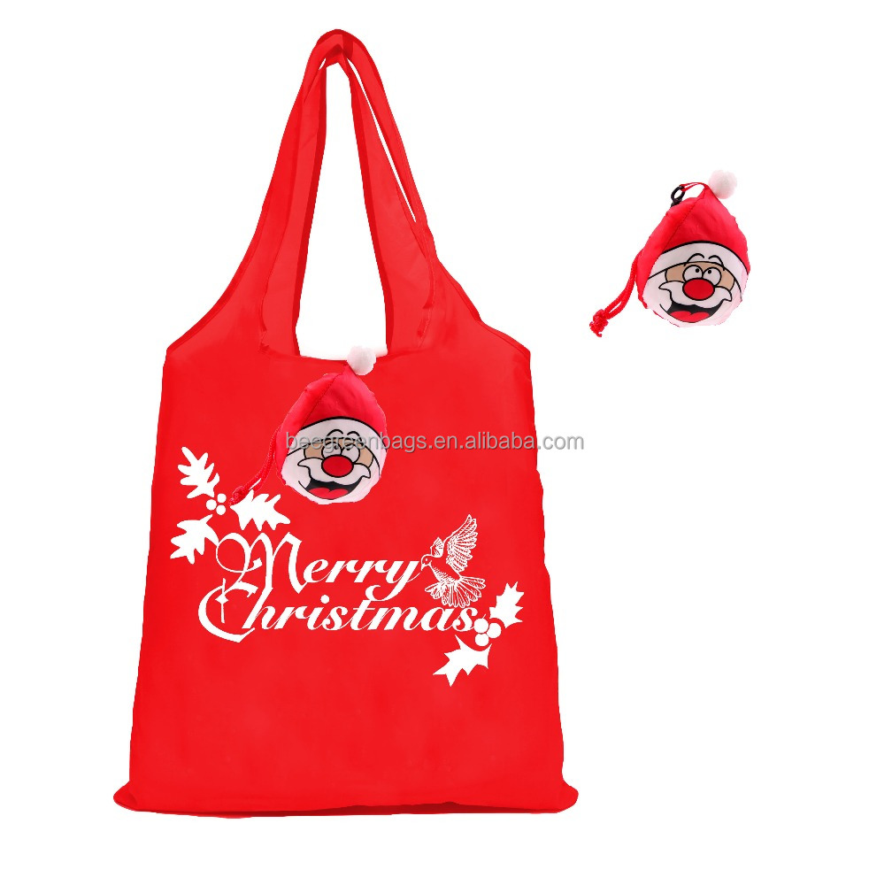 Cute santa head unique 190t polyester folding shopper tote gift polyester bag for christmas