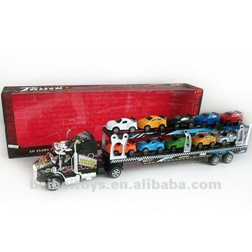 Children Plastic Friction Carrying Trailer Toys with 10 cars, Friction Power Toy Cars