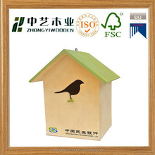 2015 High Quality outdoor forest decor OEM&ODM wooden bird house birdhouse