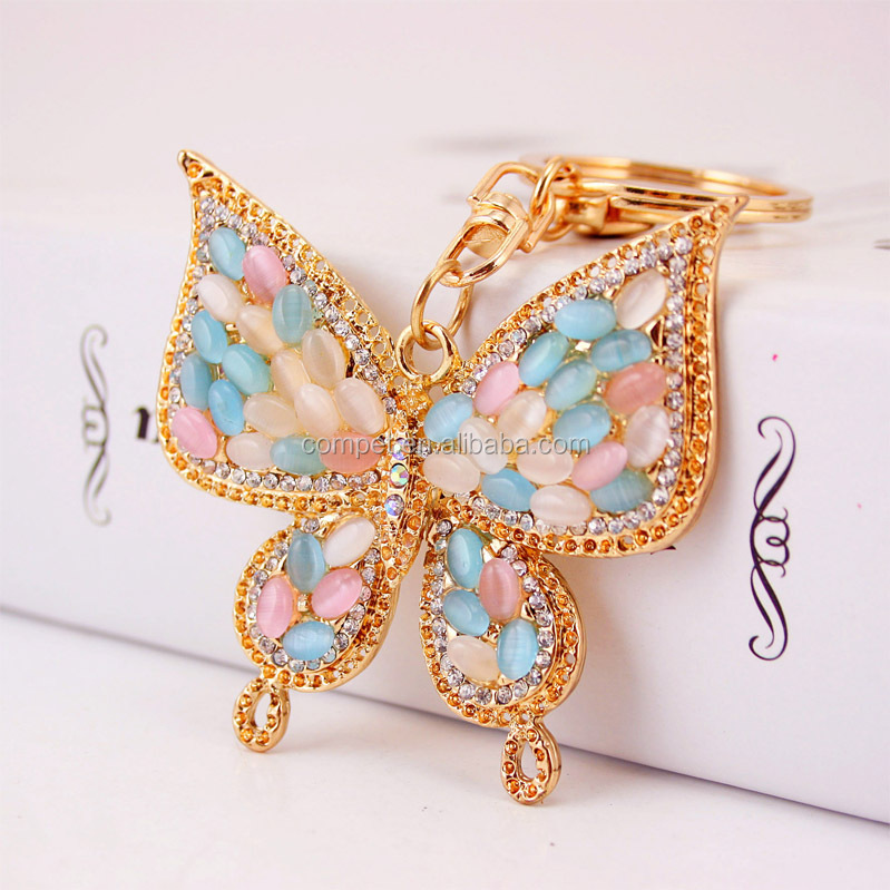 Produce car hanging ornaments cat's eye stone gem butterfly keychain