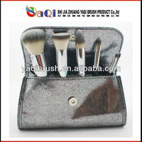6pcs cosmetic brush set with silver pouch,nylon hair makeup brush set with silver pouch,6pcs fashion brush set