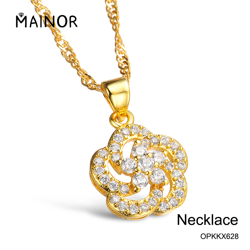 China Jewelry Rose Pendant Necklace Chain for Women with Zircon