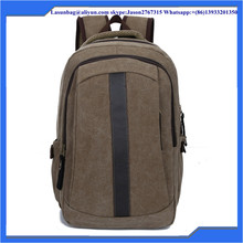Men Khaki Waxed Travel Plain Canvas Backpack Bags Outdoor Vintage Canvas Hiking Backpack