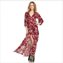 Beach garment long sleeve maxi side split red V-neck frock clothes umbrella dress designs