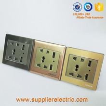 china Wholesale Europe Wall Socket 220V/ Double USB Wall Socket Outlet