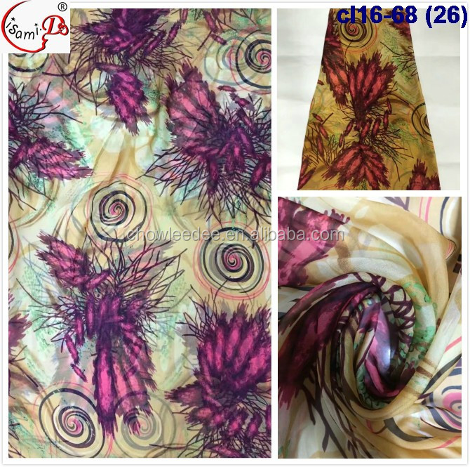 cl16-68 (26) fancy ladies print chiffon silk embroidery lace fabric raw silk fabric