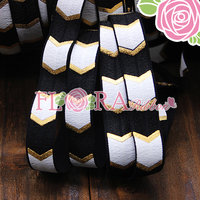 15mm Black Fold Over Elastic Ribbon with Gold Foil Silk Ink Printing