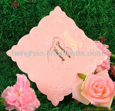 2014 competitive price smart nice lace wrapping invitation&greeting card