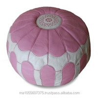 Moroccan pouffe, large pouffe , handcraft best leather, pink and white