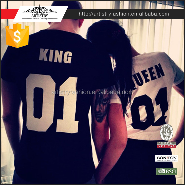 2017 Valentine King Quee NO.01 Leisure 100% Cotton woman t-shirt O-neck Couples Short Sleeve man t-shirt wholesale t shirts