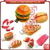 customize foods usb pendrive, hot dog usb flash memory, 3D burger usb flash drive
