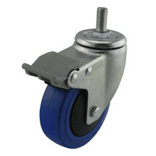 medium duty Plastic Polyurethane Trolley Wheel 125mm Screw Thread Swivel Casters