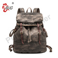 vintage canvas travel backpack zipper inside with spray black washing