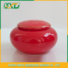 Hot sale red ceramic tea sugar coffee canister with airtight lid