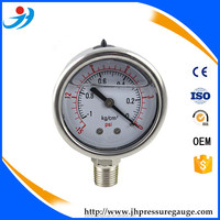 high accuracy bourdon tube type Vacuum oiling pressure gauge