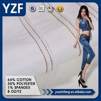 Thin cotton polyester spandex stretch denim clothing fabric