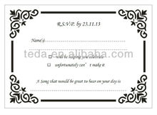 2014 New Arrival: Laser cut RSVP card&Envelope for wedding decoration