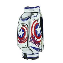 2015 golf caddy golf, customized best PU golf bag ever, blue & red star durable PU leather golf bag