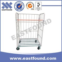 Market Hand Push Folding Rolling Wire Mesh Cage Cart With 4 Wheels