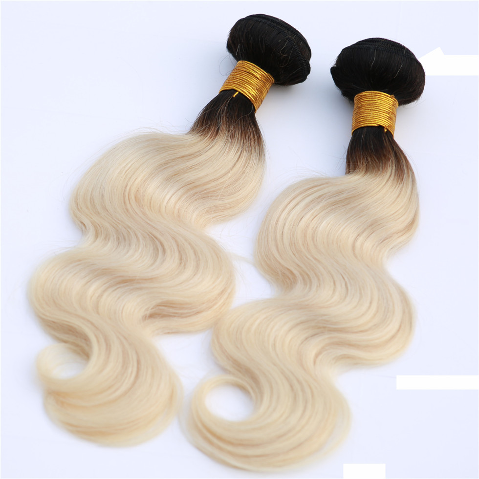 Colored Two Tone Ombre Blonde And 1b Grey Body Wave Virgin Human