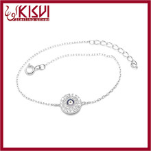 925 silver eye bracelet 6+1inch zircon jewelry with low price from kisvi silver factory
