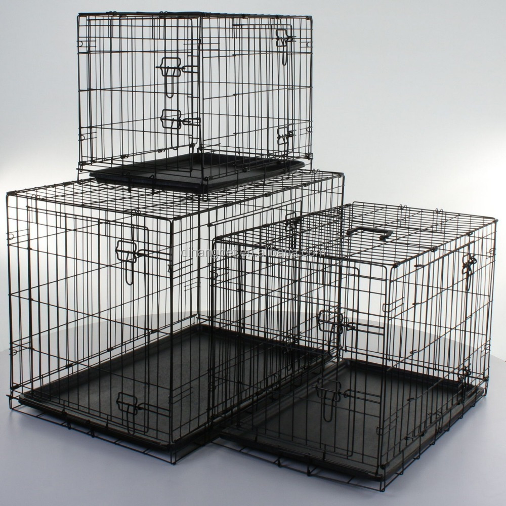 China Wholesale wire mesh Dog Cages Double Door Metal Dog Crate With Multiple Sizes