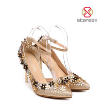 Beautiful Elegant Bridal Sandals Pencil Fancy Shoes Flora Shiny Paillette High Heel Shoes