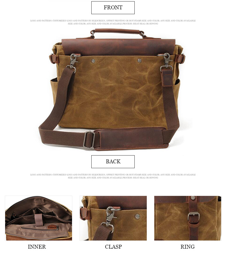 College style laptop portable canvas bags long strap mens leather messenger bag for men