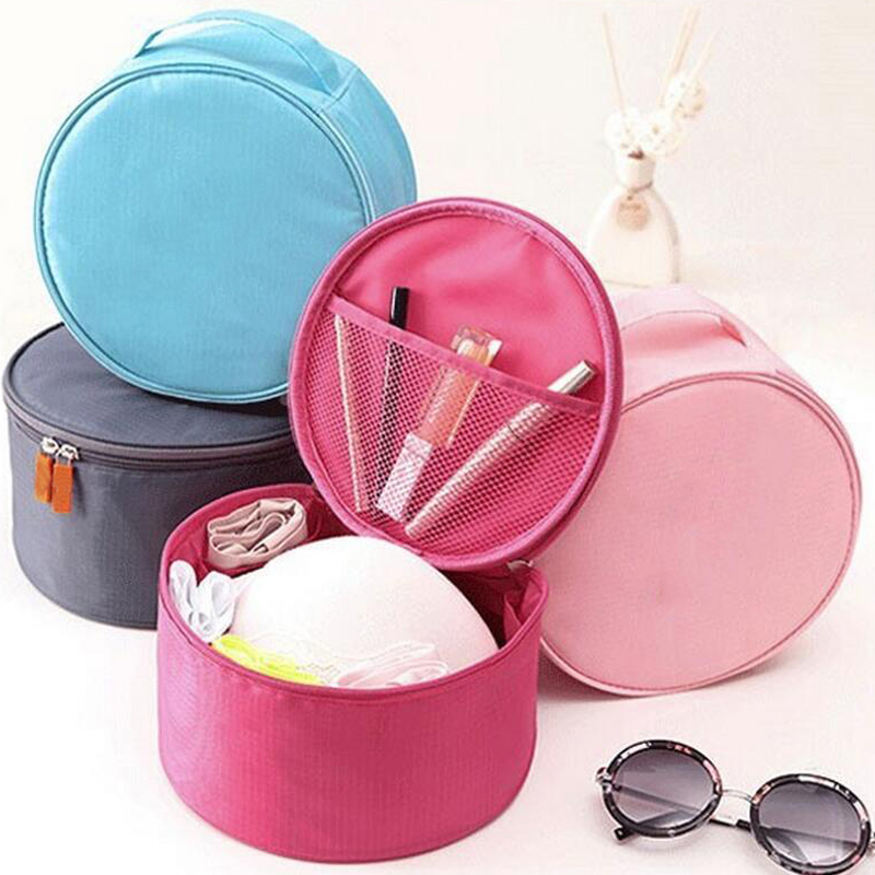 Wholesale Round Shape Nylon Waterproof Travel Toilet Bag