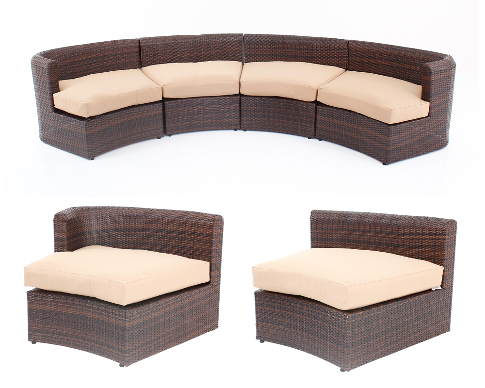PE Rattan Contracted Leisure Semicircle Sofa Set