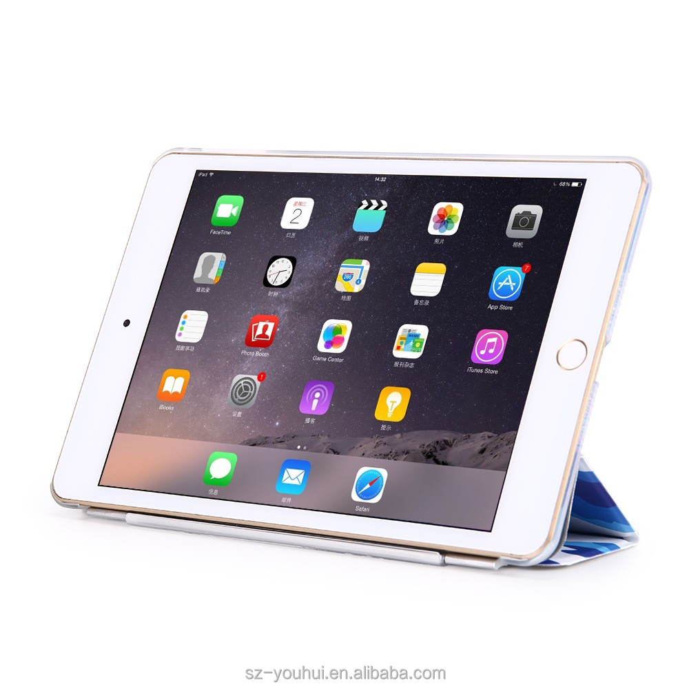 OEM/ODM Manufacturer Magnetic Closure Air 2 Smart Stand Leather Printed Case For Ipad