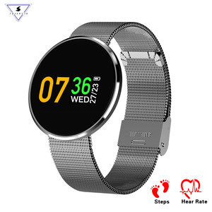 CF006 ultra thin Stainless Steel smart heart rate bracelet HD colorful oled sports fitness tracker business watch mobile phone