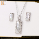 New arrival fashion stainless steel charms chain flowers shape necklace earring jewelry set for women