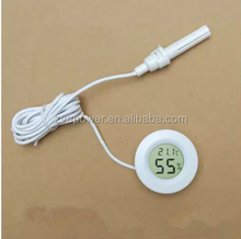 White/black Round Embedded LCD Digital Temperature Humidity Meter Thermometer Hygrometer With Probe
