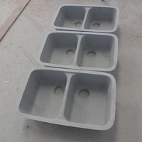 Solid surface double kitchen sink inserts