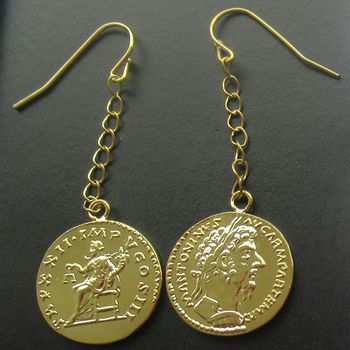 Fashion Jewelry Accessory Ancient Greek Coin Gold Plated Earrings