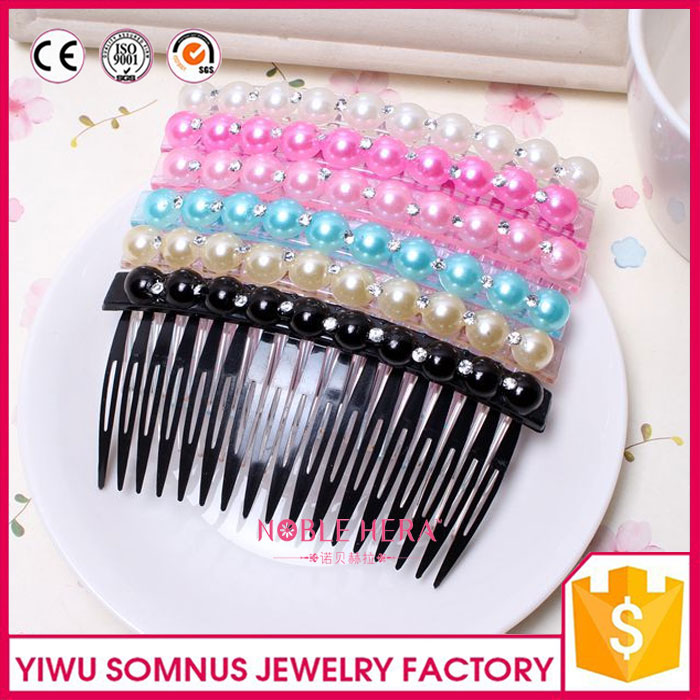Decorated Pearls Plated Crystal Pearl Headwear Bridal Hair Comb